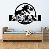 Etiqueta engomada del arte de la historieta Dinosaur Park Animal Dragon Monster Tyrannosaurus Rex Boy regalo para niños Dormitorio Nombre personalizado Vinilo Etiqueta de la pared Decoración