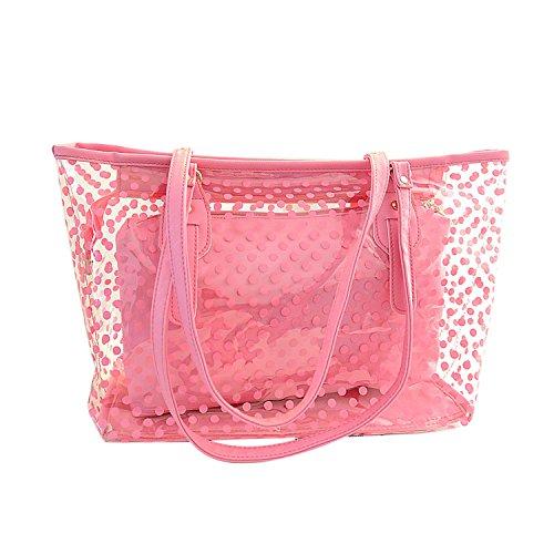 NOTAG Sac à Main Transparent, PVC Mode Sac Bandoulière 2en1 Imperméable avec Pochette Cosmétique Femme Pour Plage Voyage (Rose)