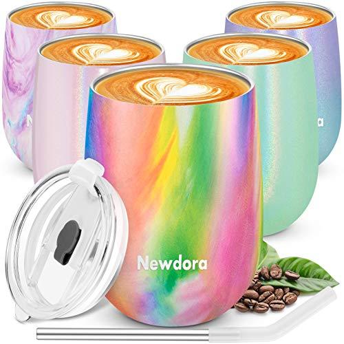 Newdora Wiederverwendbarer Reisebecher, doppelwandig, Vakuum-Isolierbecher mit auslaufsicherem Deckel für Kaffee, Tee, Cocktail, Milch und Tee, 360 ml