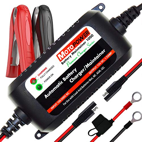 MOTOPOWER MP00206A 12V 1.5Amp Fully Automatic Battery Charger Maintainer for Cars, Motorcycles, ATVs, RVs, Powersports, Boat and More. Smart, Compact and Eco Friendly