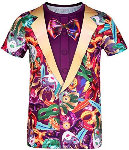 COSAVOROCK Camisetas de Esmoquin Hombre Disfraz de Mascara Veneciana XXL