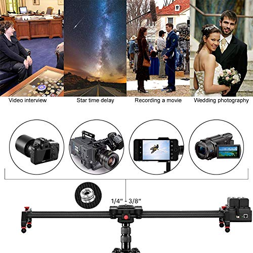Motorized Camera Slider Track Dolly Sliders Rail System with Motorized Time Lapse and Video Shot,with Remote Controller,120 Degree Panoramic Shooting 31
