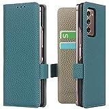Miimall Schutzhülle Kompatibel mit Samsung Galaxy Z Fold 2/W21 Hülle Leder mit Kartenschlitzen & Ständer Funktion,Magnetverschluss Kratzfest PC Lederhülle für Samsung Galaxy Z Fold 2/W21- Königsblau