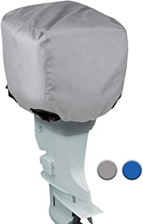 Leader Accessories Trailerable Outboard Motor Hood Cover, Waterproof Engines Cover, Full Size 10HP - 300HP in Grey Blue