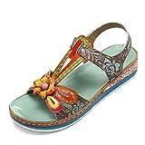 gracosy Sandalias Cuero Planas Verano Mujer Estilo Bohemia Zapatos para Mujer de Dedo Sandalias...