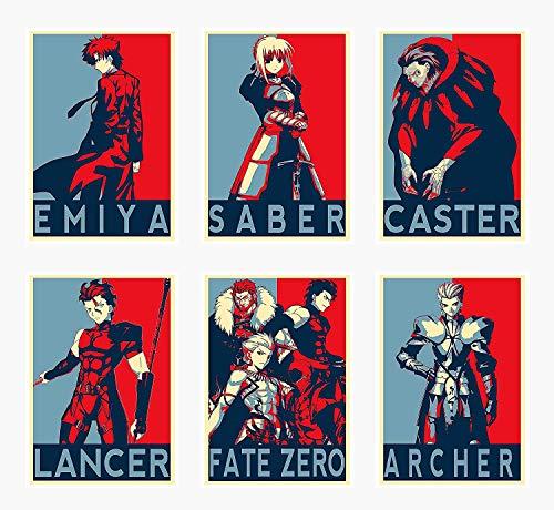 YEAHTOPE Wall Art Fate Zero Anime Characters Saber Emiya Caster Lancer Archer - Póster (6 unidades, tamaño A4, 21 x 29 cm), sin marco, diseño de personajes de anime