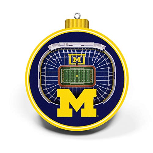 YouTheFan NCAA Michigan Wolverines 3D Stadium View Ornament, Team Colors, Large
