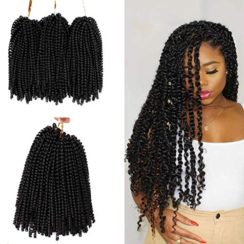 1Packs Spring Twist Crochet Elisha Hair 12 Inch Bomb Twist Crochet Hair for Butterfly Locs Curly Braids For Black Women Low Temperature Fiber Synthetic Fluffy Hair Extensions (Tb-27)