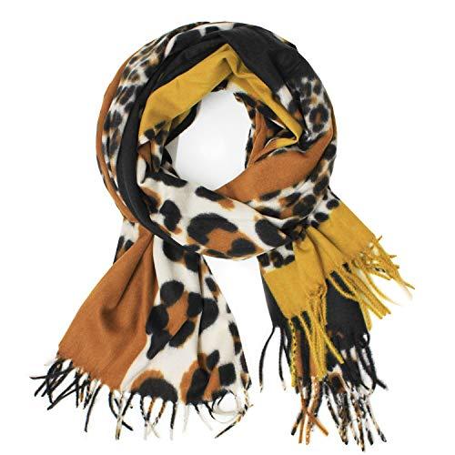 Glamexx24 Damen XXL Schal Kuschelige warme Leo Muster 3 farbig Fransen Poncho Schal Oversized Deckenschal