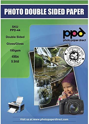 PPD DIN A4 180 g/m2 Inkjet Premium Fotopapier Beidseitig Bedruckbar - Vorder- und Rückseite Glänzend, DIN A4 x 50 Blatt PPD044-50