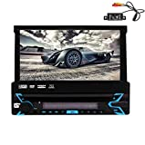 EinCar Car Stereo Bluetooth Single Din DVD Player GPS Radio System CD Head Unit 7'' Retractable HD Touch Screen 800480 FM AM RDS Receiver SWC USB Remote Control 8GB Map with Backup Reversing Camera