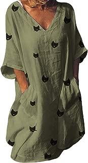 Plus Size V-Neck Women Cat Print Pocket Dresses Shift Daily Printed Dresses