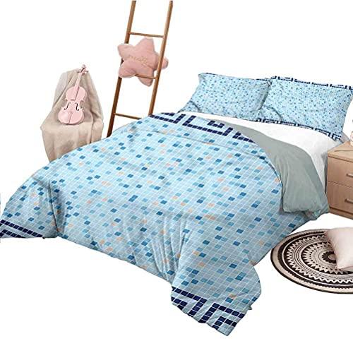Funda nórdica de Impresa en 3D Funda Nórdica y Funda de Almohada Azulejos Antiguos de Cenefa Griega Single(135X200 Cm), 2 Piece Set 1 Piece Quilt Cover + 1 Piece Matching Pillowcase