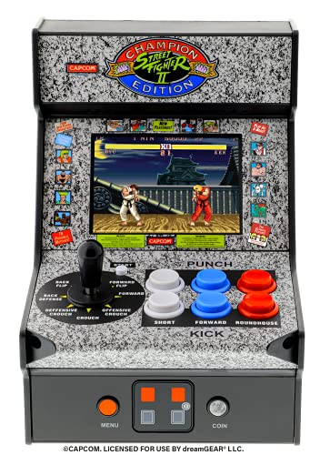 My Arcade Street Fighter 2 Champion Edition Micro Player-Fully Playable, Includes CO/VS Link for Multiplayer Action, 7.5 Inch Collectible, Full Color Display, Battery or Micro USB Powered (DGUNL-3283)