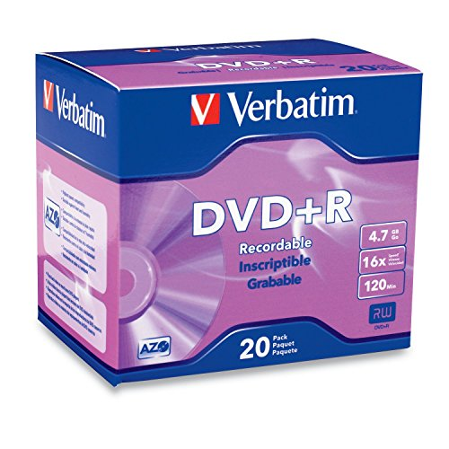 Verbatim 95038 DVD+R 4.7GB 16x AZO Recordable Media Disc - 20 Disc Slim Case,Silver