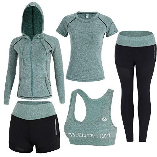 BOTRE 5 Pezzi Tute da Ginnastica Donna Tute Sportive Yoga Fitness Palestra Running Jogging Completi Sportivi Abbigliamento (Verde, S)