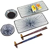 🍴 High Quality: This beautiful Japanese sushi plate set is made high quality ceramics. With the presentable blue lines pattern, Underglaze craftsmanship, high-quality texture. The chopsticks are made of ironwood, safe, convenient, durable and easy to...