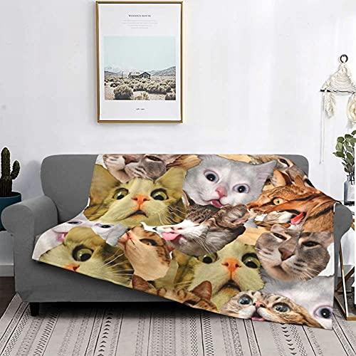 Manta de franela suave y cómoda Bedding con impresión 3D de microfibra, manta de 100 x 130 cm, cálida manta para niños y adultos, manta para cama y sofá – Gato que hace fotos