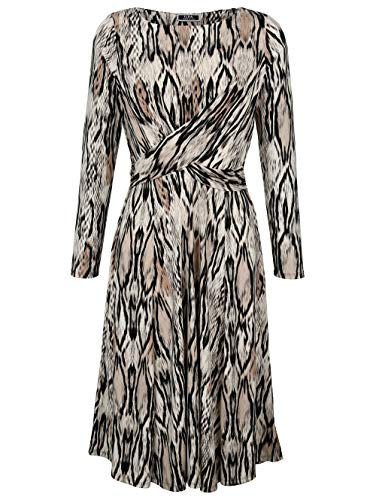 Alba Moda Damen Kleid Beige 40 Kunstfaser