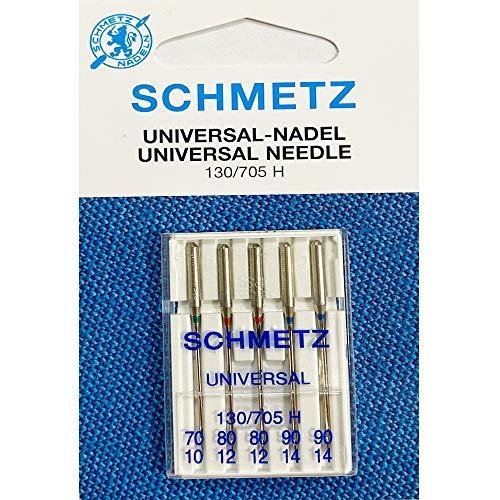 SCHMETZ - Aghi per macchina da cucire universali (regolare), varie misure 70 10, 80 12, 90 14, confezione da 5