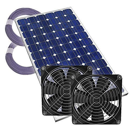 2-Fach Gewächshauslüfter Solarlüfter Plug & Play Lüfter Solar Treibhaus, 12V, komplett