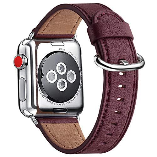 WFEAGL Kompatibel für Watch Armband 38mm 40mm 42mm 44mm,Top Grain Lederband Ersatzband mit Edelstahl-Verschluss Kompatibel für Serie 5/4/3/2/1(38mm 40mm, Wein+Silber Adapter)