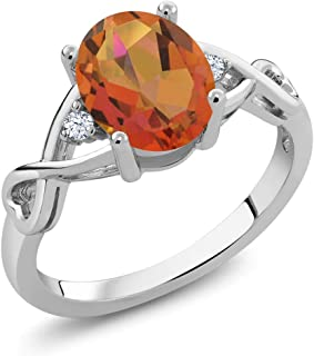 Gem Stone King 925 Sterling Silver Twilight Orange Mystic Quartz and White Topaz Women's Ring 1.85 Ctw (Available 5,6,7,8,9)