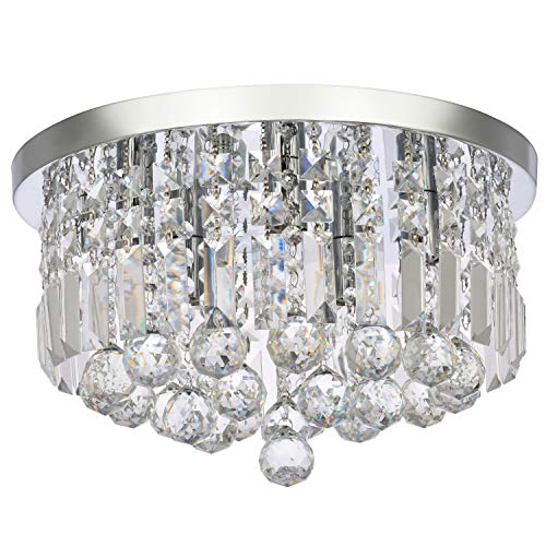 Modern K9 Crystal Chandelier Lighting, A1A9 Round Flush Mount LED Ceiling Light Fixture, Elegant Chrome Pendant Lamp for Dining Room Bathroom Bedroom Livingroom Lounge (Diameter 16'')