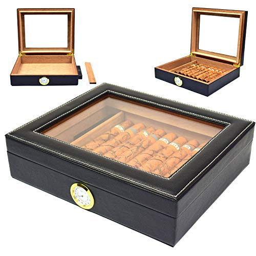 Cigar Humidor Box, Cedar Cigar Storage case Cover with Faux Leather Hygrometer and Rectangle Humidifier Holds 25-35 Cigars (Black)
