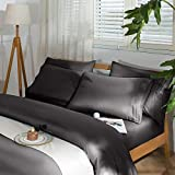 SAKIAO -6PC King Size Bed Sheets Set - Brushed Microfiber 1800 Thread Count Percale - 16' Deep Pocket Wrinkle Free & Fade Resistant - Egyptian Sheet Set (Dark Grey,King)