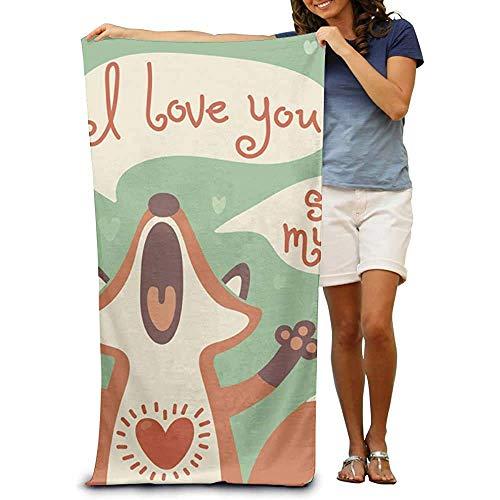 Envoltura de Toalla de Playa - I Love You Toallas de SPA absorbentes Ligeras Traje de baño Baño y Ducha