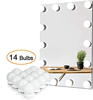 Waneway Vanity Lights for Mirror, DIY Hollywood Lighted Makeup Vanity Mirror Dimmable Lights, Stick on LED Mirror Light Kit for Vanity Set, Plug in Makeup Light for Bathroom Wall Mirror, 14-Bulb