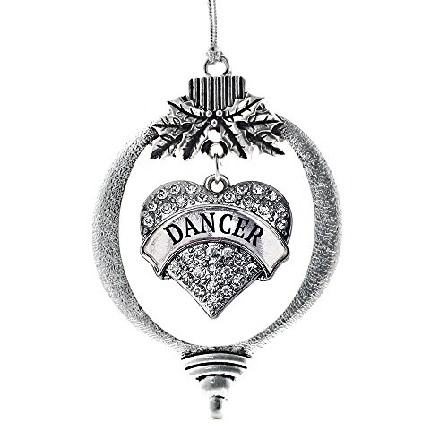 Inspired Silver - Dancer Charm Ornament - Silver Pave Heart Charm Holiday Ornaments with Cubic Zirconia Jewelry