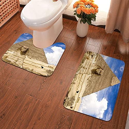 Trista Bauer Alfombrilla Antideslizante para baño Pyramids of Egypt Juego de Alfombrillas de baño Impresas 2 Piezas Alfombrilla Suave para baño + Contorno de absorción de Agua 40x60cm