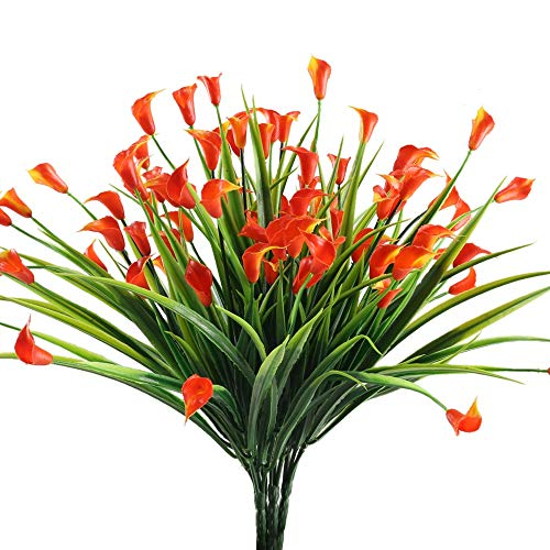 NAHUAA Fake Plants, 4PCS Artificial Calla Lily Flowers Greenery Bush Faux Plastic Wheat Grass Shrubs Table Centerpieces Arrangements Home Kitchen Office Indoor Outdoor Spring Decorations Orange
