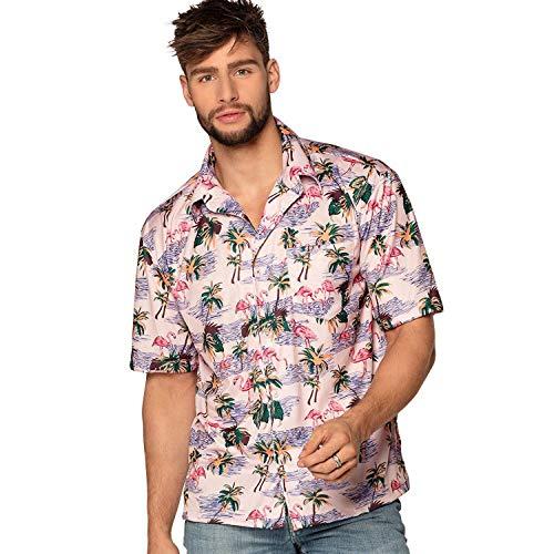 Boland 52172 - Camisa flamenco para hombre, camiseta de manga corta, Hawaii, playa, vacaciones, disfraz, carnaval, fiesta temática