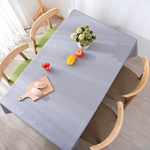 Vinyl Table Cloth, Oil Spill Proof, wipeable Plastic Tablecloth, Pure Color PVC Waterproof and Oil Proof-Light Gray_100160cm