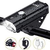 ZATK Lampe Avant Vélo, LED USB Rechargeable Lumière Vélo, IPX-5 Imperméable Avant 3 Modes + Arrière 3 Modes, pour...