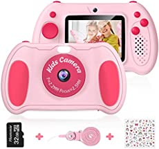 "Kids Camera for Girls, Hommie Digital Video Camera Toys Gifts for Toddlers Age 3-12 Years Old Boys Grils with Speedlite, 3 Games and MP3 Player, 2.4"" Screen Kids Camera,Pink"