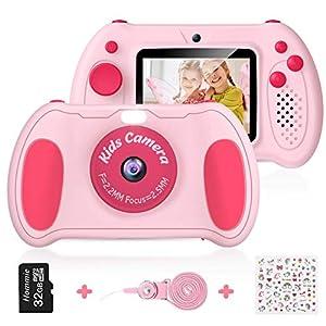 Cámara Digital para Niños, Hommie 32GB Camara Fotos Infantil de Doble Lente 1200MP/1080P con Speedlite, 3 Juegos y Reproductor MP3, Cámara para Niños de 2.4