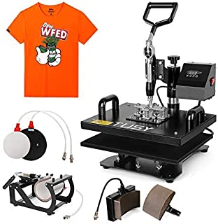 TUSY 5 in 1 Heat Press Machine Industrial Multifunction Professional Digital Transfer Sublimation Heat Press Machine for Hat/Cap/Mug/Plate/T-Shirt