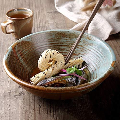 CFSAFAA Plato de cerámica Cuenco de cerámica de Estilo vajilla for el hogar, tazón de Fuente, tazón de Cuenco de 8 Pulgadas de 8 Pulgadas Ceramics is The Collective Term for Pottery and po