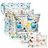R HORSE 5 Pcs Waterproof Reusable Wet Bag Diaper Baby Cloth Diaper Wet Dry Bags with 2 Zippered Pockets Travel Beach Pool Bag with Polar Bear Dinosaur Animal Alphabet Crocodile Pattern (3 Sizes)