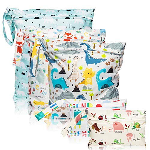 5 Pcs Waterproof Reusable Wet Bag Diaper Baby Cloth Diaper Wet Dry Bags with 2 Zippered Pockets Travel Beach Pool Bag with Polar Bear Dinosaur Animal Alphabet Crocodile Pattern (3 Sizes)