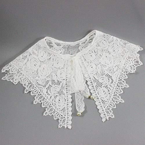 LRrui-Cuello de Blusa Cuellos Desmontables de Las Mujeres, Collar de la Solapa de la Corbata de Lazo Floral, Collar de Corbata del Frente del cordón del Encaje. Fácil de Combinar (Color : White)