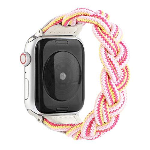 Bgfh Correa tejida trenzada para Apple Watch Band 44mm 40mm IWatch Series 6 5 4 3 SE Bandas 38mm 42mm Nylon Sport Loop Pulsera Correa de reloj