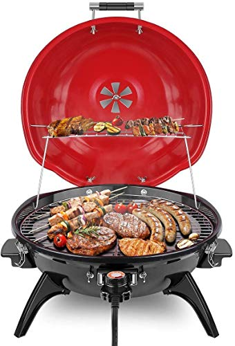 Electric BBQ Grill Techwood 15-Serving Indoor/Outdoor Electric Grill for Indoor & Outdoor Use, Double Layer Design, Portable Removable Stand Grill, 1600W (Countertop BBQ Grill)