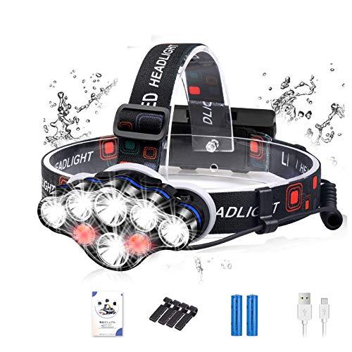 ヘッドライト led ヘッドライト 充電式 釣り 10000ルーメン以上 8 LED IPX6防水 赤&白ライト 8種モード 明るい 調整可能 アウトドア用/釣り用/防災/登山用/停電用/キャンプ(18650型バッテリー付き+ヘルメットホルダー4個+日本語マニュアル)