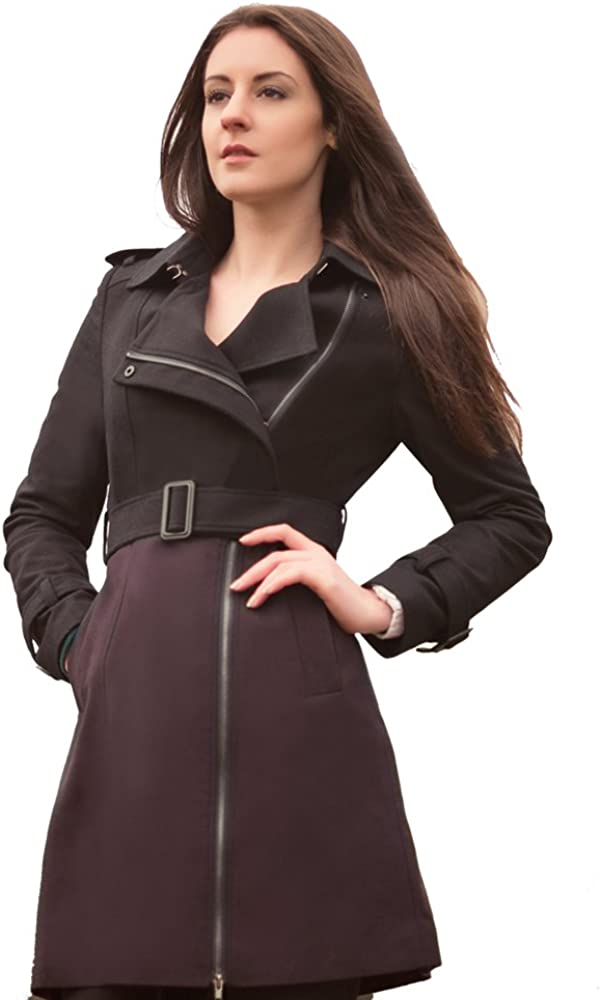 ZAREEN Wool Pea Coat with Mix Color