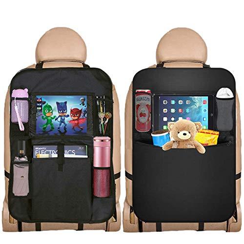 Auto Rückenlehnenschutz, KIPIDA Auto Rücksitz Organizer für Kinder, Wasserdicht Rücksitzschoner Kick Matten Schutz für Autositz mit Große Taschen und iPad Tablet Tasche, Universeller kfz Organizer